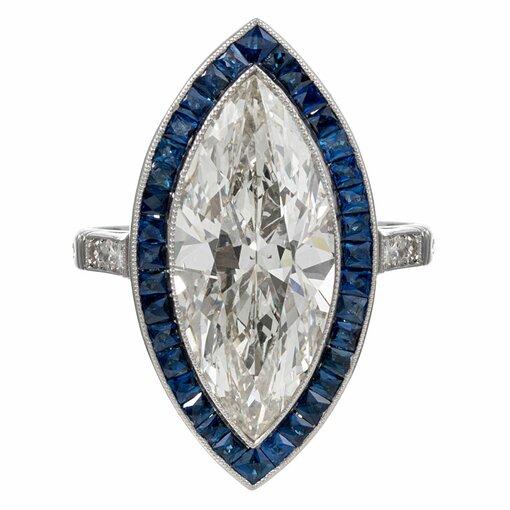 Art Deco Style 5.11 Carat Marquis Diamond and Sapphire Ring