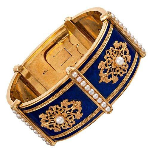 French Victorian Enamel & Natural Pearl Bangle Bracelet