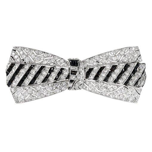 Platinum Art Deco Onyx & Diamond Bow Brooch