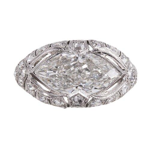"Platinum 3.01ct ""East-to-West"" Marquis Diamond Ring"