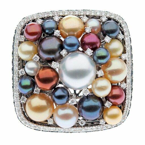 Impressive Pearl & Diamond Italian Designer Ring