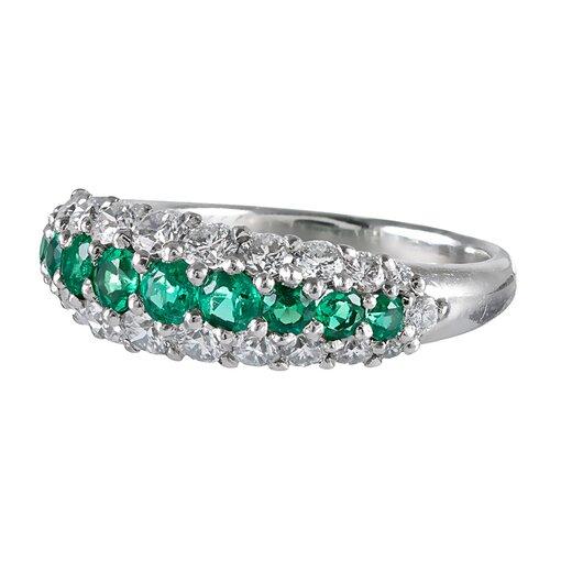 Emerald & Diamond Three-Row Half Eternity Band