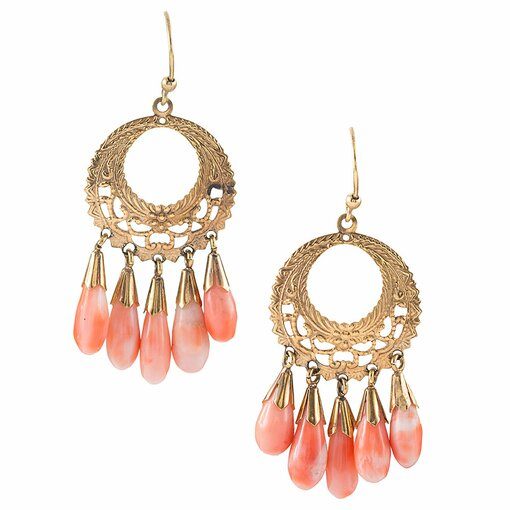 18k yellow gold coral