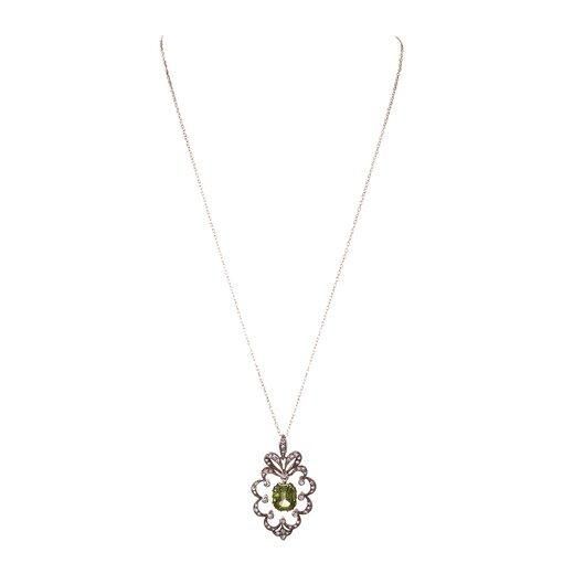 Circa 1885 Peridot and Diamond Pendant In Original Box