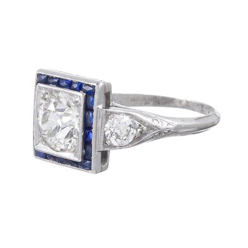 Art Deco 1.60 Ct Diamond Ring with Sapphire Trim