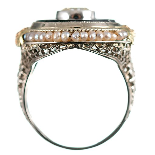Edwardian Onyx, Pearl 7 Diamond Plaque Ring