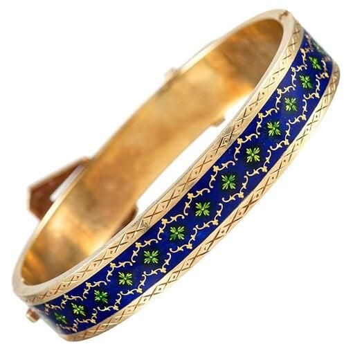 Royal Blue Enamel and Pearl Victorian Buckle Bracelet