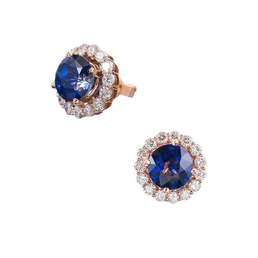 Rose Gold 6.04 Carat Ceylon Sapphire & Diamond Cluster Earrings