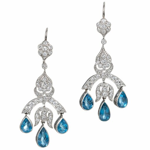 Aquamarine & Diamond Chandelier Earrings
