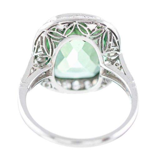 6.13 Carat Green Tourmaline and Diamond Ring Modern Estate