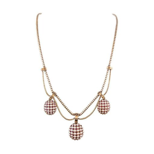 Victorian Triple Locket Ruby & Pearl Necklace with Buckles