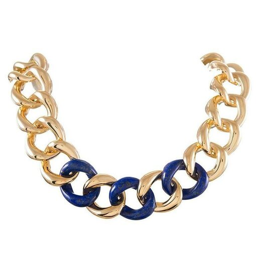 Seaman Schepps Lapis & Gold Link Necklace
