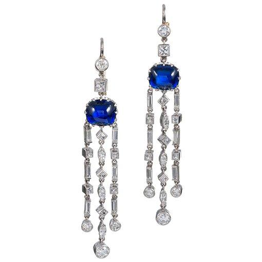 Art Deco Cabochon Sapphire & Diamond Cascade Earrings