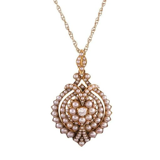 Victorian Pearl and Diamond Cluster Pendant