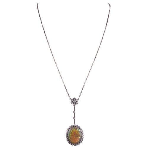Edwardian Opal & Diamond Drop Necklace