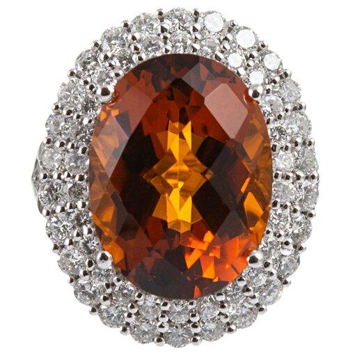 10.13 Carat Checkerboard Citrine & Diamond Ring
