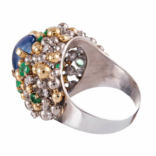 Cabochon Sapphire Ring with Diamond & Emerald Accents
