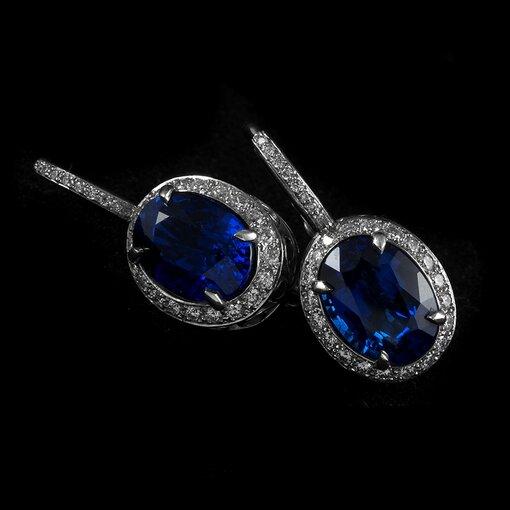 6.73 Carat Sapphire Diamond Platinum Drop Earrings