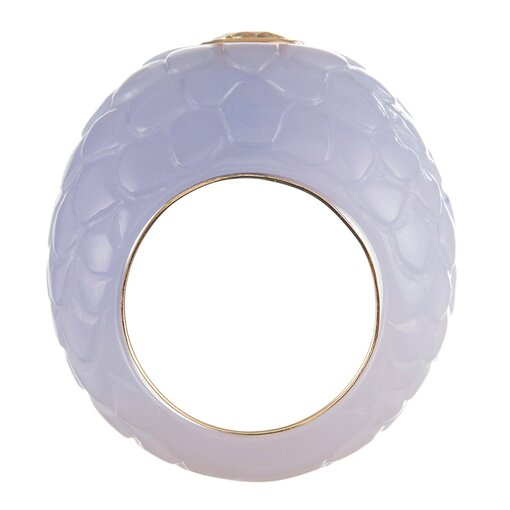1.32 Carat Cultured Fancy Intense Yellow Diamond in Custom Blue Chalcedony Mounting