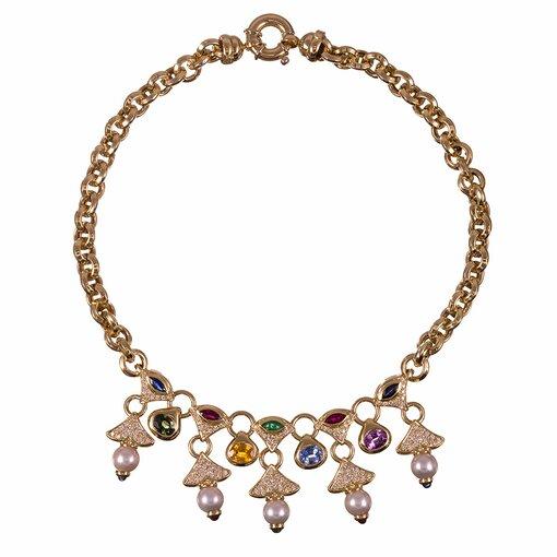 1980s Pearl Sapphire Diamond Fringed Collar