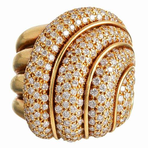 Swirling Diamond Ring, signed Henry Dunay