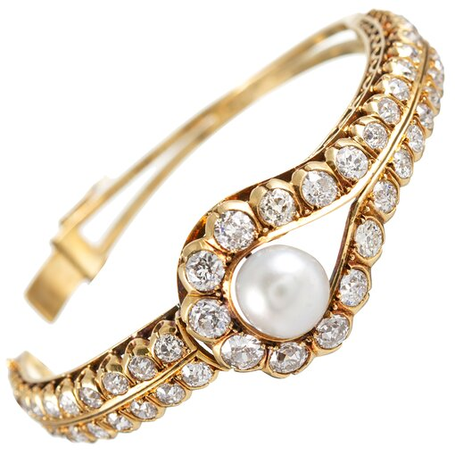 Pearl Diamond Hinged Bangle Bracelet