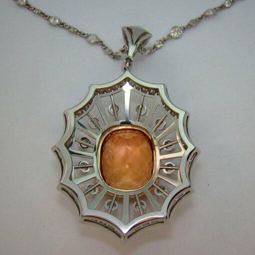 Imperial Topaz, Moonstone, and Diamond Pendant in Platinum
