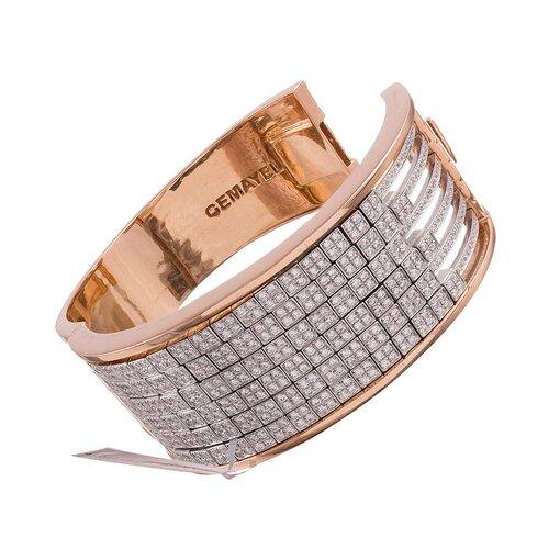 """Rose & White Gold Abacus Bracelet with 9.62 Carats of Diamonds, signed """"Gemayel"""""""