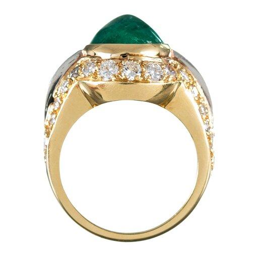 7 Carat Cabochon Emerald & Diamond Dome Ring