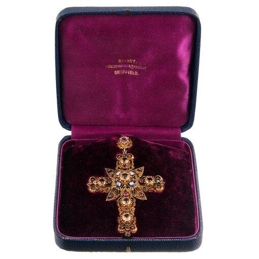 Granulated Gold, Gemstone & Enamel Cross Pendant with Original Box