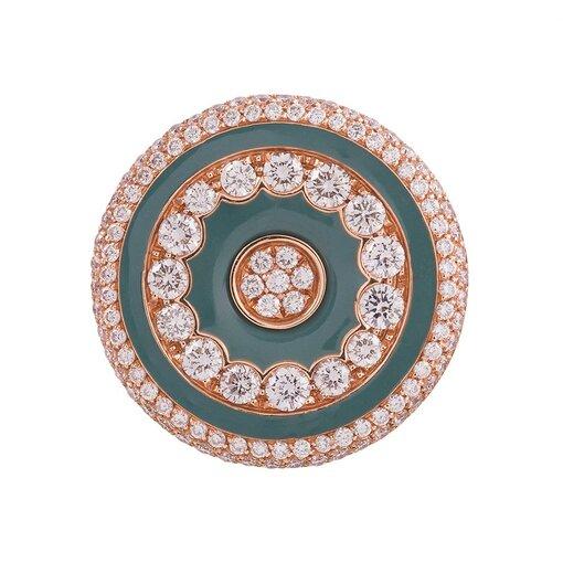 Luca Carati Green Onyx Diamonds Gold Concentric Circles Ring