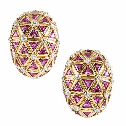 Pink Sapphire 7 Diamond Honeycomb Earrings
