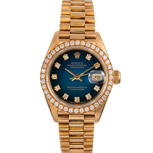 PRE-OWNED VINTAGE ROLEX  LADY DATEJUST  WITH BLUE VIGNETTE  DIAL REF# 68138