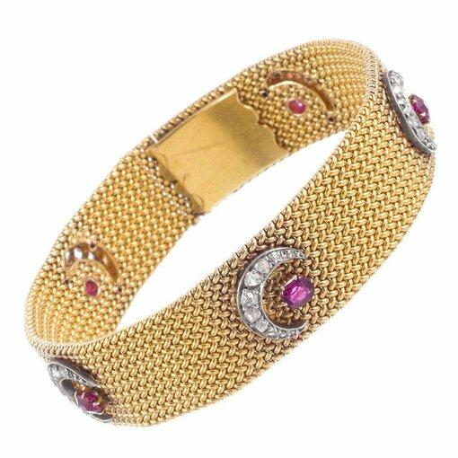 "Victorian ""Moon and Stars"" Mesh Bracelet"