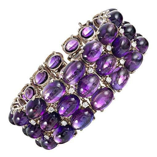 Cabochon Amethyst & Diamond Bracelet