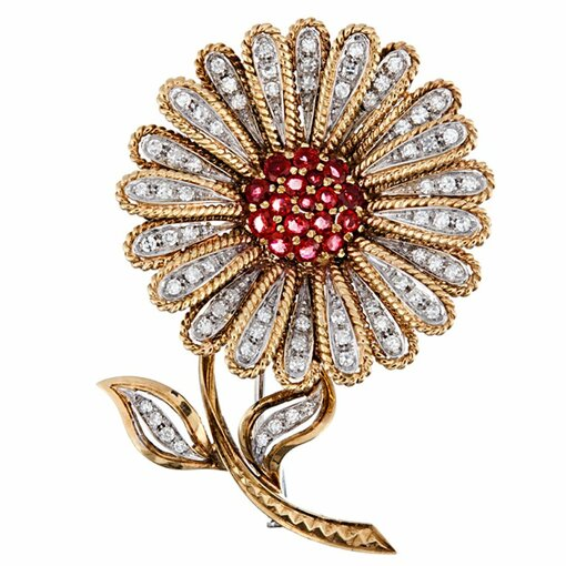 Three-dimensional twisted gold Diamond Ruby Daisy Brooch