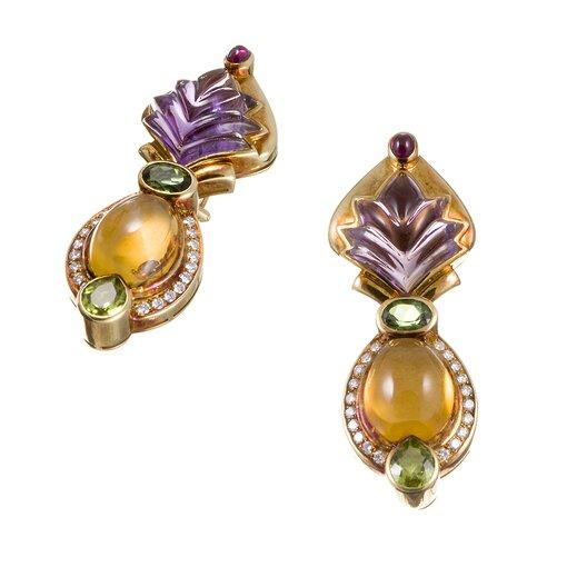 Cabochon Gemstone Diamond Gold Earrings