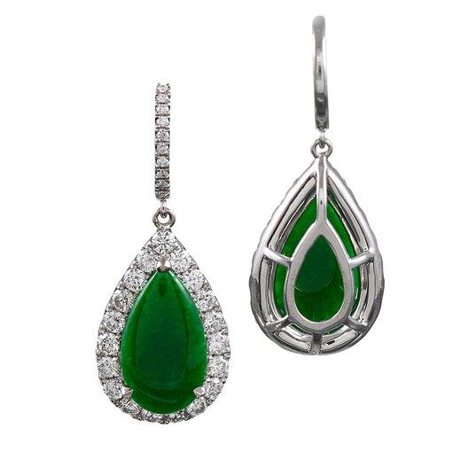 Jade & Diamond Cluster Drop Earrings