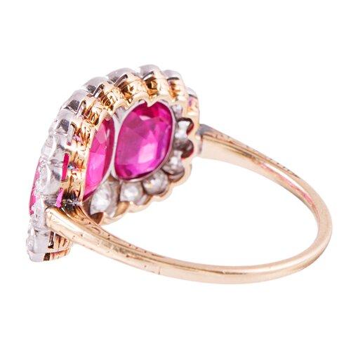 Edwardian Three Stone Burma No Heat Ruby & Diamond Ring
