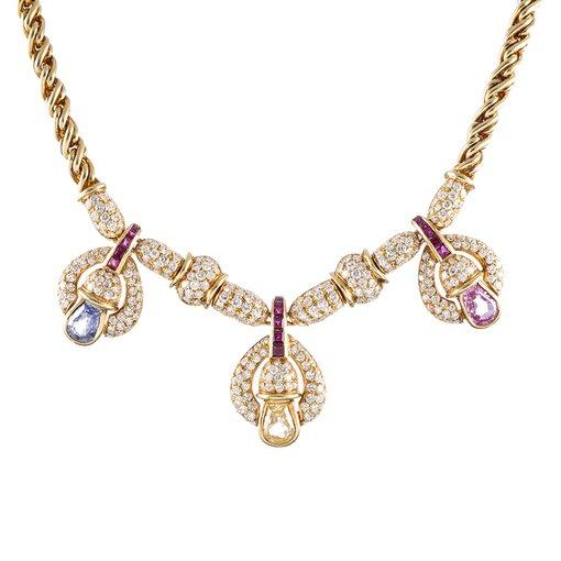 Sapphire Ruby Diamond Gold Necklace