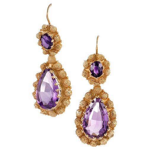 Victorian Amethyst and Yellow Gold Earrings