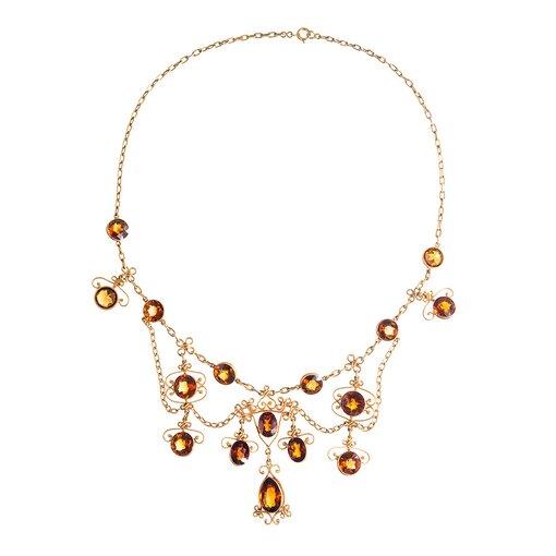 Victorian Citrine Gold Festoon Necklace
