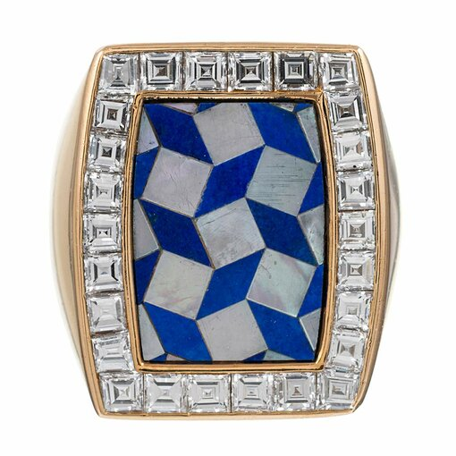 Lapis, Mother of Pearl and Diamond Ring, signed Chaumet
