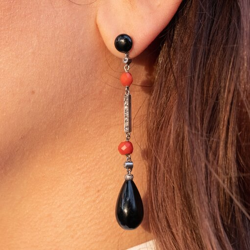 Art Deco French Coral, Onyx & Diamond Drop Earrings