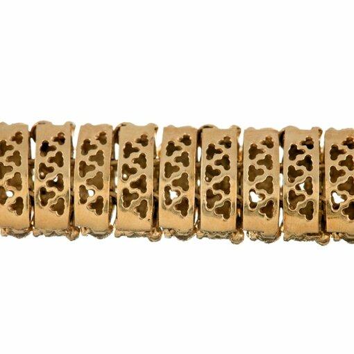 Textured Gold Bracelet Navy Blue and Grass Green Enamel