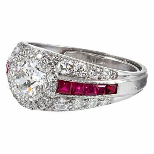 1.00 Carat Old European Cut Diamond & Ruby Ring