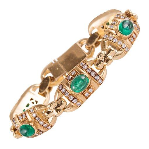 Cabochon Emerald & Diamond Link Bracelet