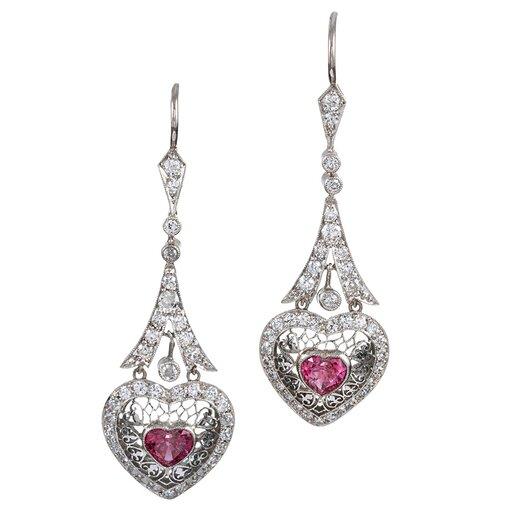 Platinum Heart-Shaped Pink Sapphire & Diamond Filigree Drop Earrings