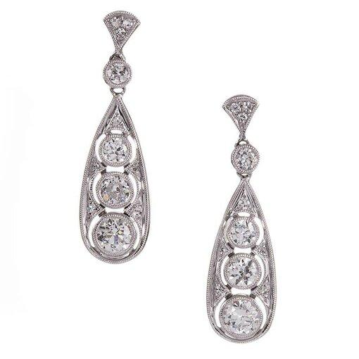 Art Deco 1.75 Carat Old European Cut Diamond Drop Earrings