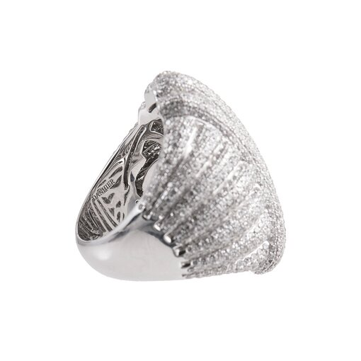 3.70 Carat Pave Diamond Wave Ring
